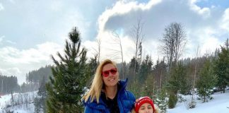Яскрава плавчиня Клочкова з сином підкорила на лижах Буковель: фото