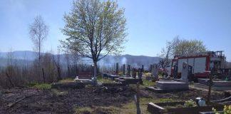 На Прикарпатті вогонь ледь не знищив кладовище: фото
