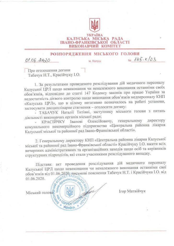 Через смерть жінки мер Калуша оголосив догани заступнику і керівнику ЦРЛ