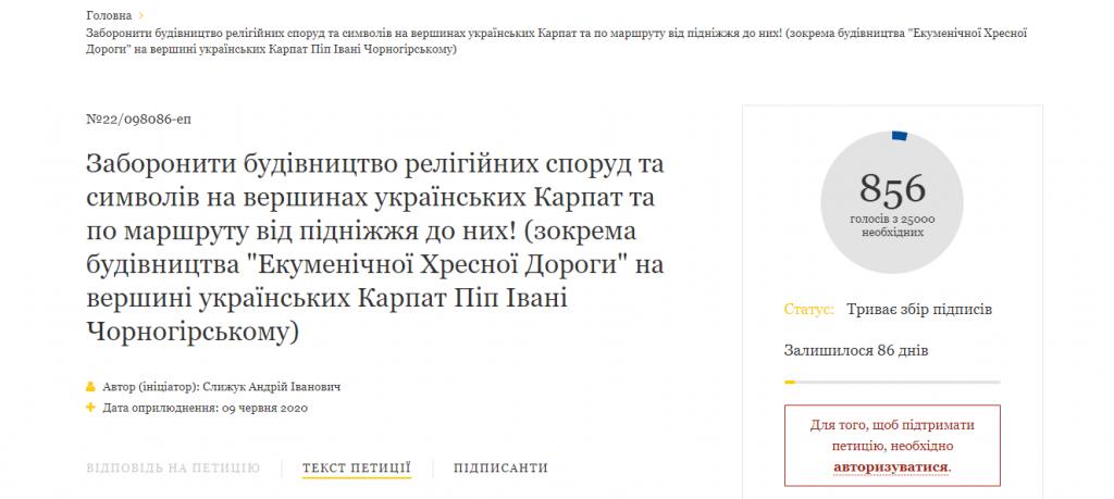 На сайті петицій до президента триває збір підписів за заборону будівництва релігійних споруд на схилах Карпатах